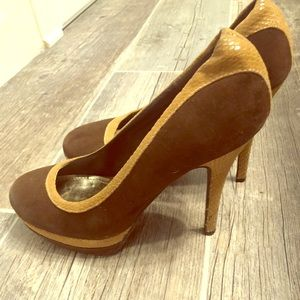 Baby Phat Brown suede high heels with tan accents